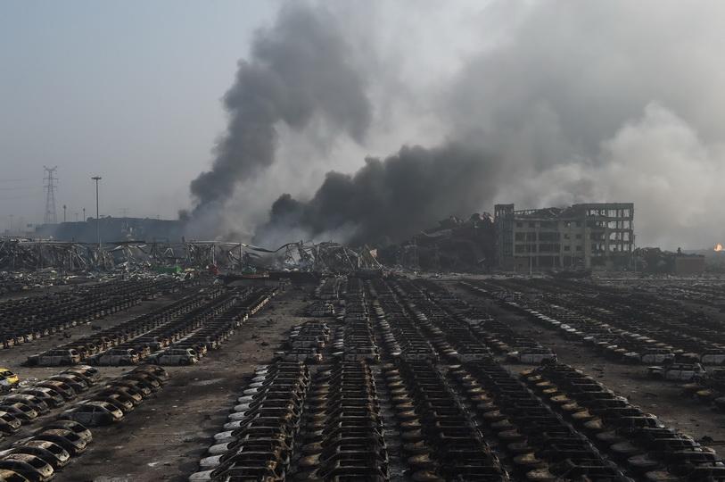 สภาพความเสียหายหลังเกิดเหตุระเบิดรุนแรงภายในนิคมอุตสาหกรรมเทียนจิน ทางตอนเหนือของจีน เมื่อวันที่ 13 ส.ค. ปี 2015 ซึ่งโศกนาฏกรรมครั้งนี้ทำให้มีผู้เสียชีวิตไป 17 ราย