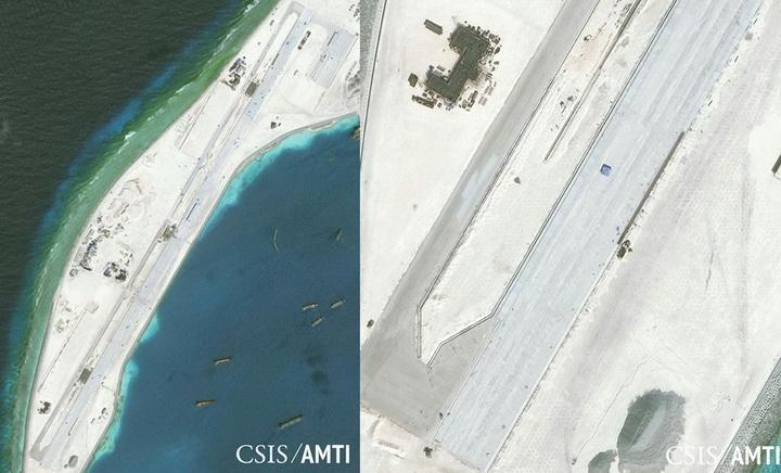 ทั้ง 2 ภาพนี้เป็นภาพถ่ายผ่านดาวเทียมเมื่อวันที่ 8 มกราคม 2016 ของโครงการริเริ่มเพื่อความโปร่งใสทางทะเลในเอเชีย (AMTI), ศูนย์เพื่อยุทธศาสตร์และการระหว่างประเทศศึกษา (CSIS) กรุงวอชิงตัน แสดงให้เห็นทางวิ่งของสนามบินซึ่งสร้างขึ้นบนเกาะเทียมที่จีนถมที่ถมทะเลเกาะปะการัง มิสชีฟ สร้างขึ้นมา ทั้งนี้ นอกจากที่เกาะปะการังแห่งนี้แล้ว จีนยังสร้างสนามบินและสิ่งปลูกสร้างต่างๆ บนเกาะปะการัง ในย่านหมู่เกาะสแปรตลีย์ ของทะเลจีนใต้นี้อีกหลายแห่ง