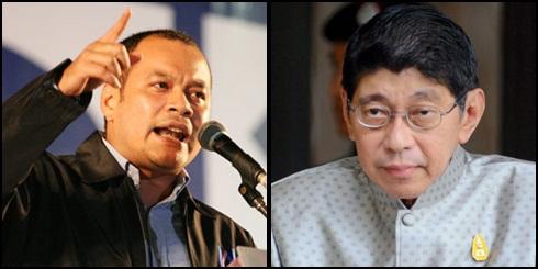 (ซ้าย) นายณัฐวุฒิ ใสยเกื้อ เลขาธิการ นปช. (ขวา) นายวิษณุ เครืองาม รองนายกรัฐมนตรี