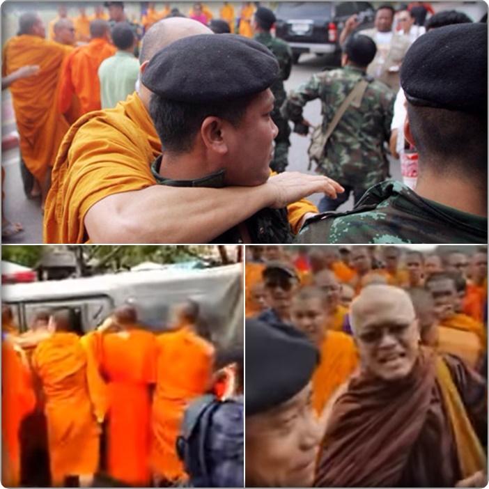 "In Pics&Clips:  สื่อทั่วโลกรายงาน ""ม็อบสงฆ์ไทยนับพัน"" นำโดยพระเมธีฯและคนวัดธรรมกาย ตะลุมบอนปะทะเจ้าหน้าที่ ประท้วงชนวนเหตุแต่งตั้งสมเด็จพระสังฆราช"