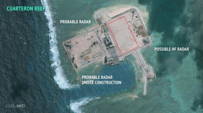 สิ่งปลูกสร้างบนเกาะปะการังคัวร์เตอรอน จากภาพถ่ายดาวเทียม Digitalglobe เมื่อวันที่ 24 ม.ค. ที่ผ่านมา