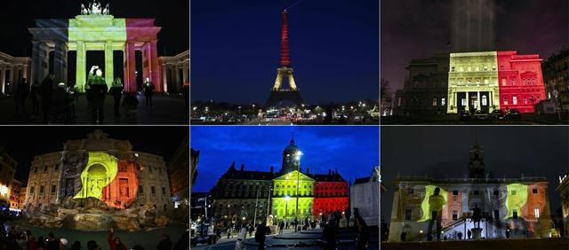 <i>รวมภาพถ่ายอาคารและสถานที่สำคัญๆ ในยุโรป พากันประดับไฟเป็นสีธงชาติเบลเยียมเมื่อคืนวันอังคาร (22 มี.ค.) เพื่อร่วมไว้อาลัยเหยื่อเคราะห์ร้าย และแสดงความเป็นน้ำหนึ่งใจเดียวกันกับชาวเบลเยียม  (แถวบนทางซ้ายไปขวา) ประตูบรันเดนเบิร์ก ในกรุงเบอร์ลิน,  หอไอเฟล กรุงปารีส, อาคารศาลว่าการเมืองเบลเกรด, (แถวล่างจากซ้ายไปขวา) น้ำพุเทรวี ในกรุงโรม, พระราชวังหลวง ที่จัตุรัสดัม ในกรุงอัมสเตอร์ดัม, และอาคารคัมปิโดกลิโอ ของกรุงโรม </i>