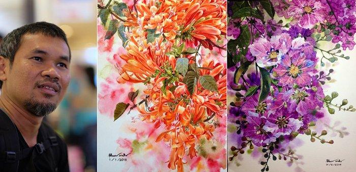 """ผู้ชายที่วาดดอกไม้ได้งามนัก! """"กิติพงษ์ มากสิน"""" ศิลปินสีน้ำโกอินเตอร์!"""