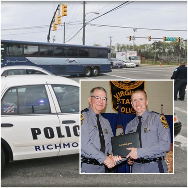 "In Pics& Clip:  ""1 ตำรวจทรูเปอร์รัฐเวอร์จิเนีย-คนร้ายดับ"" หลังยิงปะทะเดือดบริเวณสถานีรถบัสเกรย์ฮาวระหว่างฝึกซ้อม บาดเจ็บ 2"