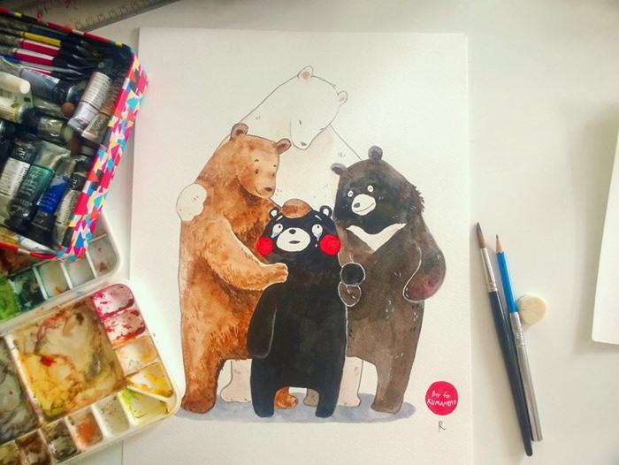 จงเข้มแข็งไว้ เจ้าหมีแก้มแดง!  ผลงานโดยศิลปินไทยเจ้าของนามปากกา อาลู่ เพื่อร่วมแสดงออก pray for kumamoto  ชมผลงานเพิ่มเติมได้ที่ หน้าเพจ 'อาลู่'  https://www.facebook.com/CabbageBrand/?fref=ts