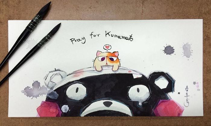 หายไวๆนะเจ้าหมี ผลงานร่วม pray for kumamoto โดยศิลปินรุ่นใหม่ของไทย AnimaToey ชมผลงานเพิ่มเติมได้ที่ หน้าเพจ AnimaToey  https://www.facebook.com/AnimaToey2/?fref=ts