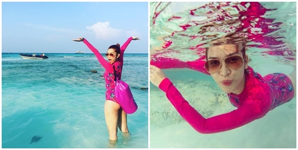 """""""อีฟ พุทธธิดา"""" หยิบชุดว่ายน้ำสีชมพูสุดจี๊ดคลายร้อนเล่นน้ำทะเลใต้"""