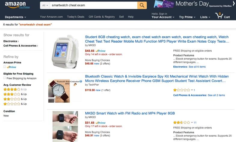 พบนาฬิกาโกงข้อสอบขายใน eBay-Amazon หรา แถมราคาถูกเหลือเชื่อ