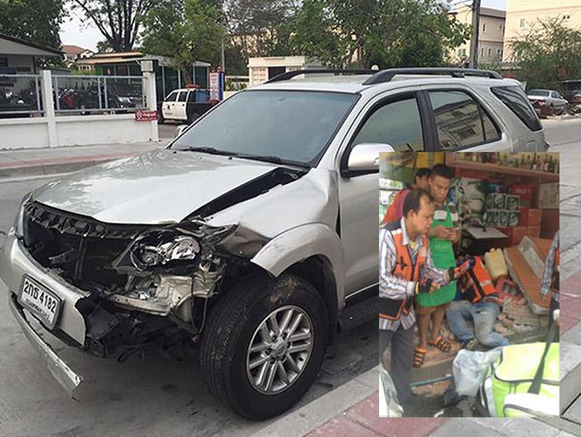 รถยนต์ฟอร์จูนเนอร์เจอเก๋งออกจากซอยกะทันหันตกใจ!เหยียบคันเร่งพุ่งชนวิน จยย. เจ็บ 7