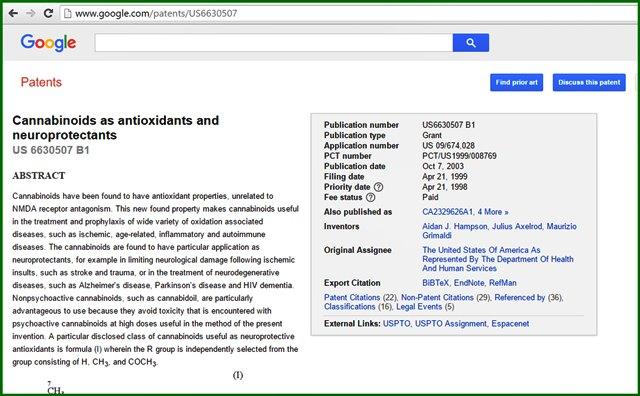 มีการจดสิทธิบัตรโดยรัฐบาลสหรัฐอเมริกาว่า กัญชาใช้รักษาโรคได้ ในปี ค.ศ. 2003