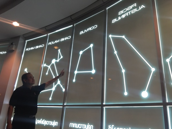 ผนังของอาคารนิทรรศการฯ ถูกออกแบบให้เป็นรูปของกลุ่มดาว