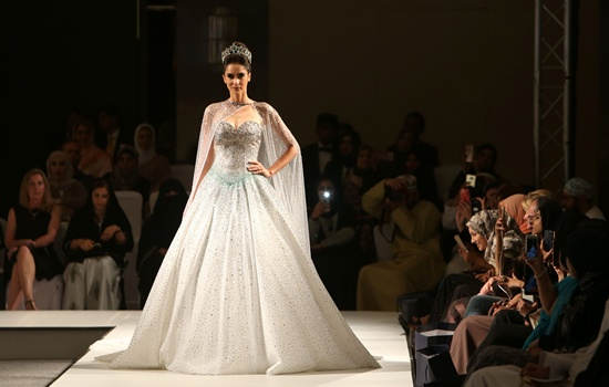 Muscat: A model displays a creation by Lebanese designer Antoine Salameh during the launch of the 4th edition of the Ladies a La Mode fashion show, on May 27, 2016, in the Omani capital Muscat. AFP/Mohammed Mahjoub