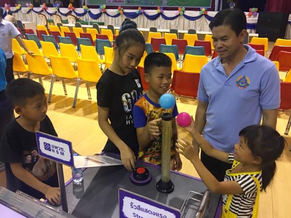 เยาวชนฝึกลอยลูกบอลจากท่อลมที่สอนให้รู้จักเรื่องไดนามิกส์