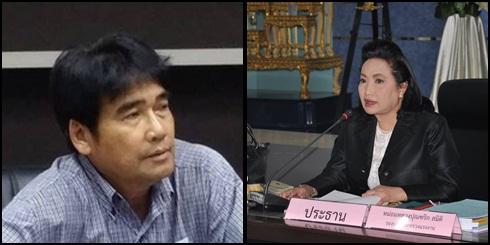 (ขวา) ม.ล.ปุณฑริก สมิติ ปลัดกระทรวงแรงงาน ในฐานะประธานบอร์ดค่าจ้าง (ซ้าย) นายชาลี ลอยสูง รักษาประธานคณะกรรมการสมานฉันท์แรงงานไทย(คสรท.)