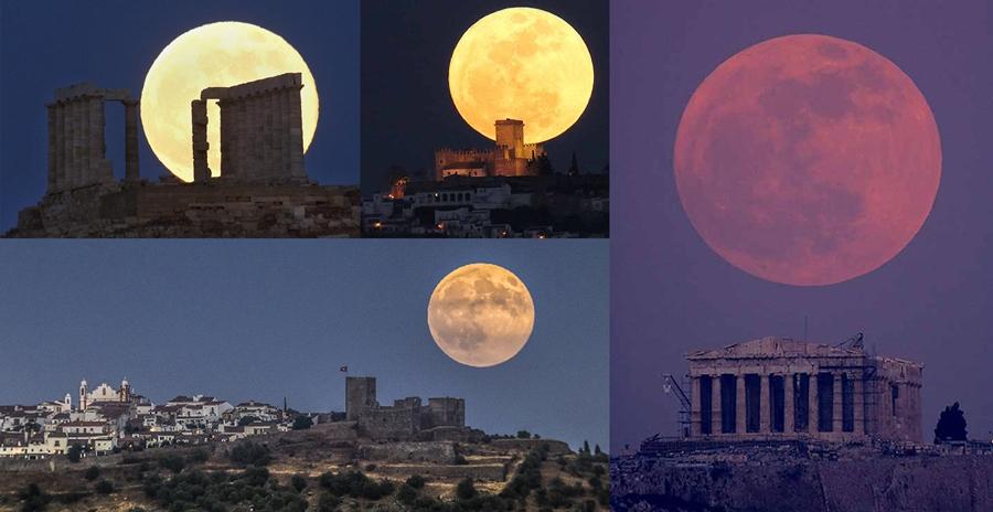 ตัวอย่างภาพถ่าย Moon Illusion ในช่วงปรากฏการณ์ Super Full Moon
