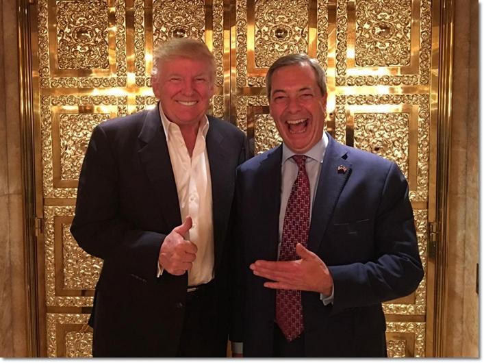 โดนัลด์ ทรัมป์(ซ้าย) และไนเจล ฟาราจ หัวหน้าพรรค UKIP อังกฤษที่มีเรื่องอื้อฉาวไม่แพ้กัน(ขวา)