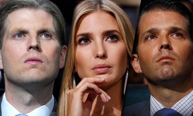 <I>อีริก ทรัมป์, อีวังกา ทรัมป์, และ โดนัลด์ ทรัมป์ จูเนียร์  บุตรชายและบุตรสาวของว่าที่ประธานาธิบดีสหรัฐฯ โดนัลด์ ทรัมป์ </i>