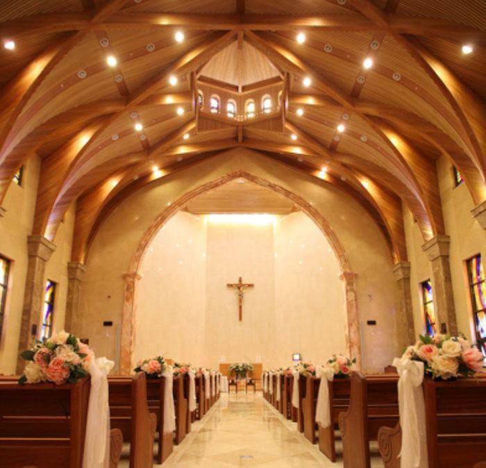 ภาพตัวอย่างภายในโบสถ์สถานที่จัดพิธีแต่งงานเรน-คิมแตฮี