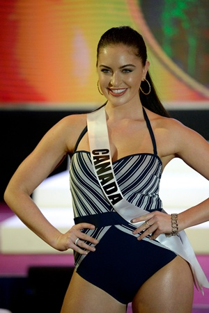 Cebu, Philippines: Miss Canada Siera Bearchell participates in a swimwear fashion show in Cebu City, central Philippines on January 17, 2017. The Miss Universe pageant will be held on January 30. AFP/Noel Celis