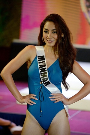 Cebu, Philippines: Miss Myanmar Htet Htet Htun participates in a swimwear fashion show in Cebu City, central Philippines on January 17, 2017. The Miss Universe pageant will be held on January 30. AFP/Noel Celis