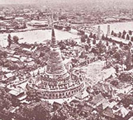 ภาพถ่ายทางอากาศวัดประยุรวงศาวาสในอดีต เห็นสะพานพุทธฯ