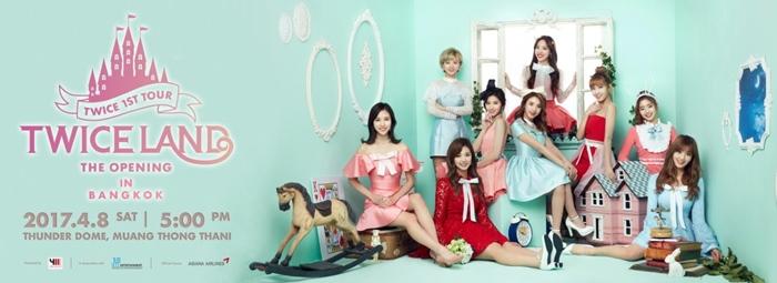 """9 สาว """"ทไวซ์"""" (TWICE) ประเดิมคอนเสิร์ตใหญ่ครั้งแรก เริ่มเปิดจองบัตร 4 มี.ค.ที่ไทยทิคเก็ตฯ"""