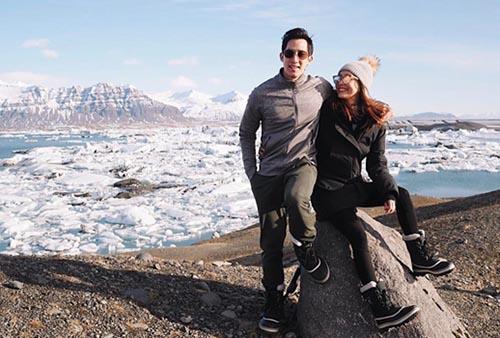 """""""โบ"""" ควงแขนสามี """"เอก เด็กวัดร้อยล้าน"""" ดูแสงเหนือเที่ยวไอซ์แลนด์"""