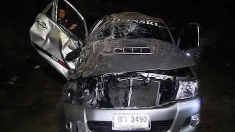 สภาพความเสียหายของรถกระบะนักแสวงบุญ