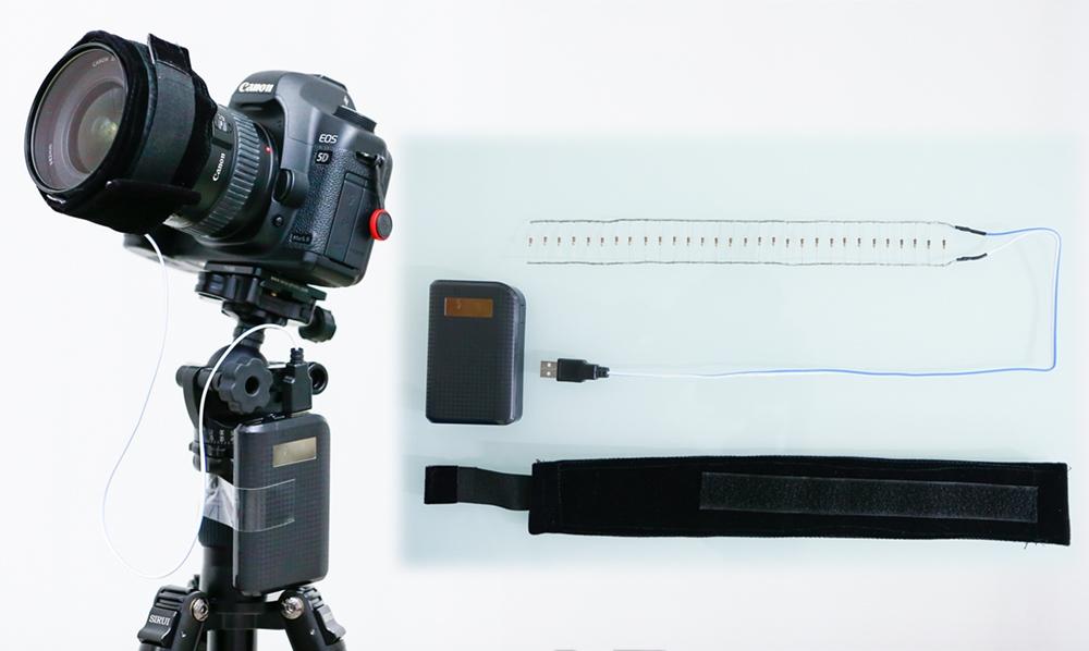 ตัวอย่างภาพแถบความร้อน ที่ใช้พันหน้ากล้องเพื่อป้องกันฝ้าหน้ากล้องจากความชื้นในอากาศ