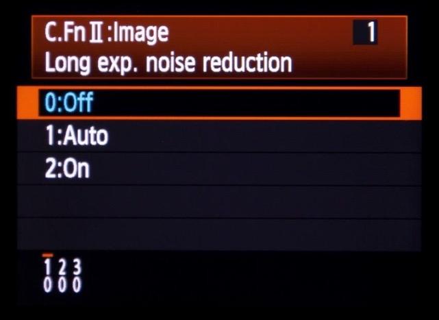 ตัวอย่างฟังก์ชั่นการปิดระบบ Long-Exposure Noise Reduction ในกล้องดิจิตอล