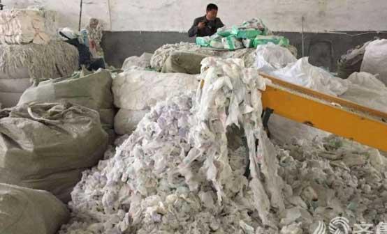โรงงานจีน เอาเศษผ้าอ้อมผู้ใหญ่ใช้แล้ว กลับมาผลิตขายใหม่