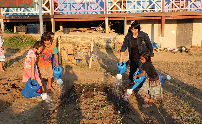 เด็กๆช่วยกันปลูกผักและรดน้ำ