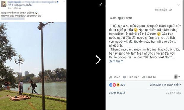 เวียดสุดระอาแหม่มไม่เดียงสา นอนเปลือยอกอาบแดดริมทะเลสาบศักดิ์สิทธิ์กลางกรุงเก่าฮานอย