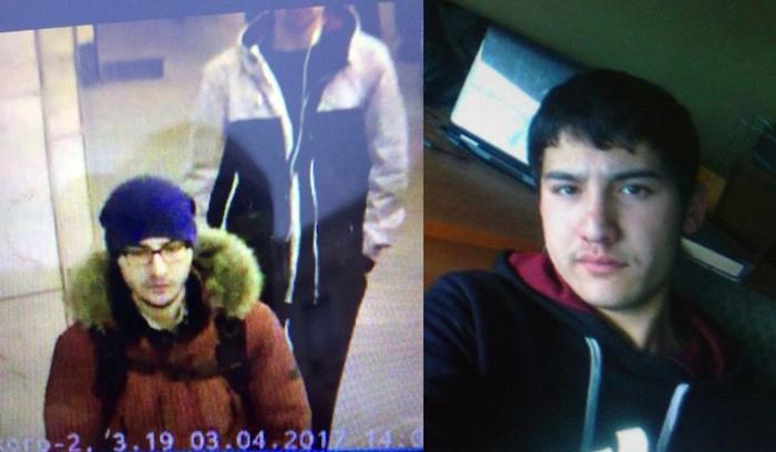 <i>(ซ้าย) ภาพนิ่งถ่ายจากกล้องทีวีวงจรปิดซึ่งเผยแพร่โดยตำรวจรัสเซียและสถานีโทรทัศน์ช่อง 5 ของรัสเซียได้รับมา แสดงให้เห็น  อัคบาร์จอน จาลิลอฟ ผู้ก่อเหตุระเบิดฆ่าตัวตายบนขบวนรถไฟใต้ดินในเมืองเซนต์ปีเตอร์สเบิร์ก ขณะเดินเข้าไปยังสถานีรถไฟใต้ดิน  (ขวา) ภาพไม่ปรากฏวันที่ถ่ายของ จาลิลอฟ ซึ่งเผยแพร่บนสื่อสังคมของหนังสือพิมพ์ออดโนคลาสส์นีคี ของรัสเซีย </i>