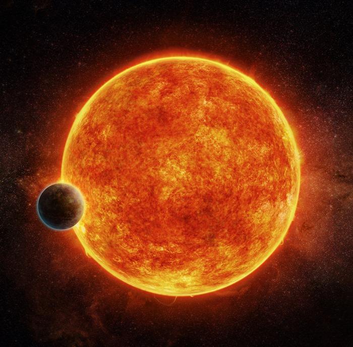 SuperEarth – ภาพจำลองดาวเคราะห์ LHS 1140b ขณะกำลังผ่านหน้าดาวฤกษ์ในระบบ (M. WEISS / European Southern Observatory / AFP)
