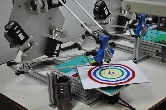 หุ่นยนต์เดลตาโรบอทวาดภาพ Bohr Model