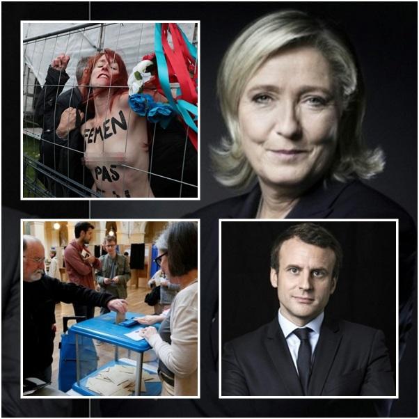 "InPics : ""คูหาเลือกตั้งฝรั่งเศสรอบ 2 เปิดแล้ว ผลโพลล่าสุดชี้ ""มาครง"" นำ ""เลอแปน"" ขวาจัด สาวเปลือยอกฟีเมนโผล่ป่วน"
