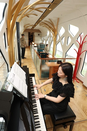 Tokyo: This picture taken on April 26, 2017 shows a woman playing the piano in the lounge car of the Train Suite Shiki-shima, operated by East Japan Railway, in Tokyo during a press preview. AFP/Jiji Press/str