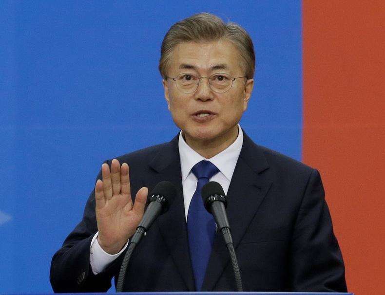 มุน แจอิน กล่าวคำปฏิญาณในพิธีสาบานตนรับตำแหน่งประธานาธิบดีเกาหลีใต้ เมื่อวันที่ 10 พ.ค.