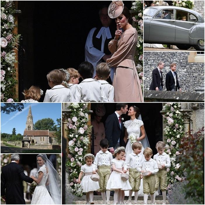 """ชมภาพชุดสุดอลังฯ:""""พิปปา มิดเดิลตัน"""" น้องสาวเจ้าหญิงเคท แต่งงาน มีเจ้าชายจอร์จและเจ้าหญิงชาร์ล็อตต์เป็น """"เพจ บอย-เพื่อนเจ้าสาว"""""""