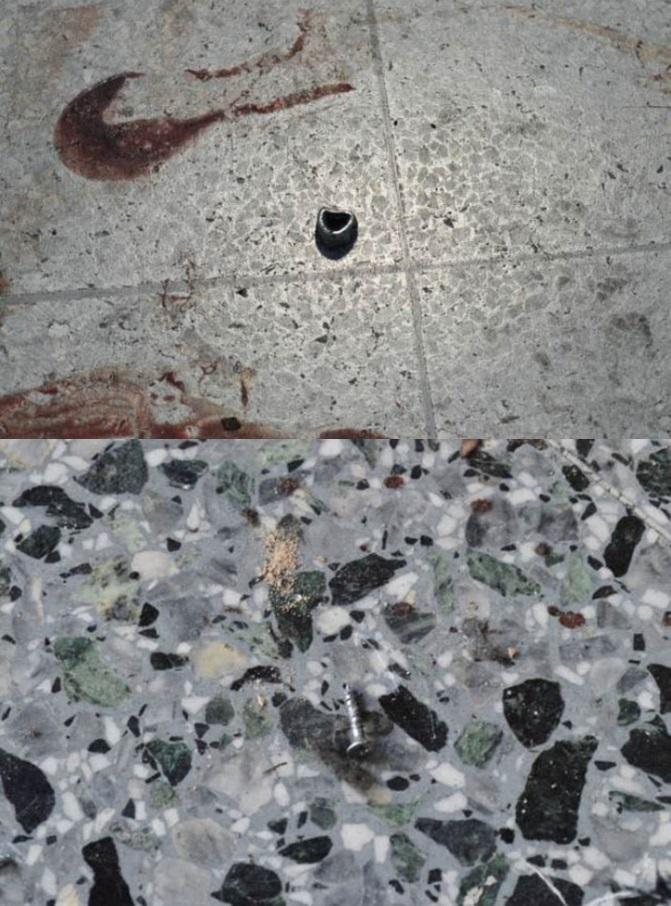 ภาพนิวยอร์กไทม์ส ภาพหลักฐานทางนิติวิทยาศาสตร์ ตะปู และสกรูน็อตที่ตกอยู่บนพื้น