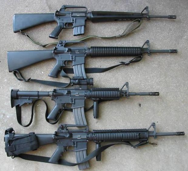 <br><FONT color=#00003>บนสุดเป็น M16/A1 ถัดลงมา M16/A2, M4A1 และ M16/A3 ตามลำดับ การก่อเกิดของไรเฟิลลำกล้องสั้น  M4 คาร์บีน ไม่ได้ทำให้สายการผลิต M16 ต้องหยุดลง โคลท์ยังพัฒนา ปืนเล็กยาวกึ่งอัตโนมัติ ต่อมา และ ยังใช้กันในกองทัพ ปัจจุบันไปจนถึง M16/A4 ซึ่งประสิทธิภาพสูงส่ง เป็นคนละเรื่องกับ M16 เมื่อครั้งสงครามเวียดนาม. </b>