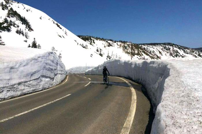 เส้นทางปั่นจักรยานขึ้นกำแพงหิมะพิชิตยอดเขาฮะจิมันไต(ภาพ : การท่องเที่ยวจังหวัดอิวาเตะ)