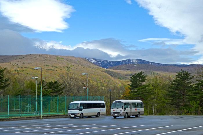 แนวเทือกเขาฮะจิมันไต เมื่อมองจากที่พัก โรงแรมฮะจิมันไต ไฮท์