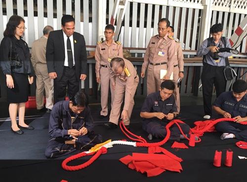 กรมศิลป์ตรวจเยี่ยมการจัดทำเชือกฉุดชักราชรถ