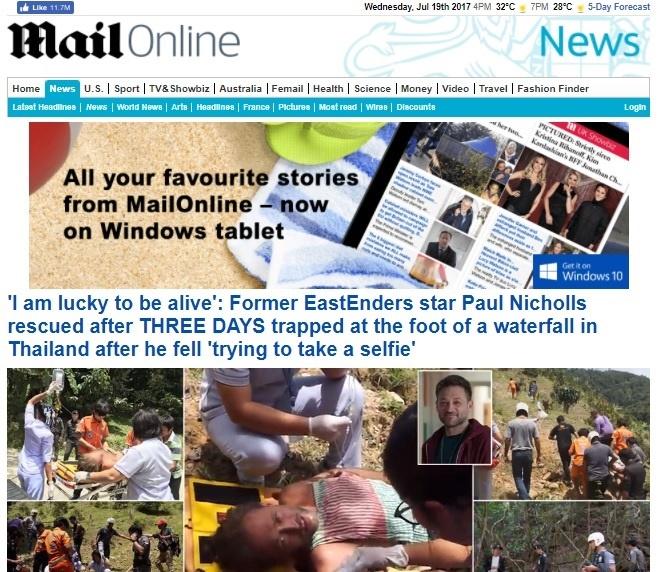 "InPics :  ช็อกทั้งเกาะอังกฤษ! ดาราซีรีส์ ""อีสต์เอนเดอร์ส"" ถูกโขกค่ารักษาขาหักคืนละเกือบ 6 แสน+ค่าผ่าตัดกว่า 4 ล้านบาท หลังตกหน้าผาน้ำตกขุนศรีบนเกาะสมุย"