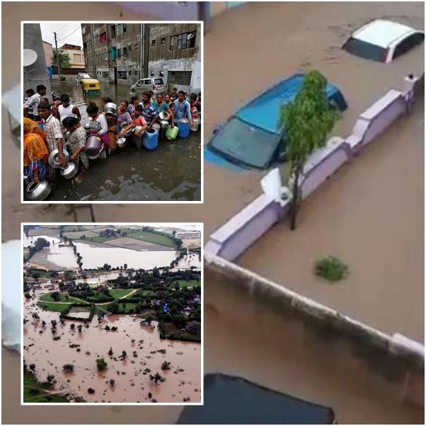 ชมภาพน้ำท่วมอินเดียมโหฬาร:ยอดดับรัฐคุชราตพุ่ง 213 ราย เสียหายหนัก หลังคารถเกือบมิด คนต่อแถวกลางน้ำเน่ารอปันน้ำสะอาดดื่ม