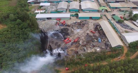 เพลิงไหม้กองขยะในโรงงานราชบุรี
