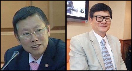 (ซ้าย) นายบวรศักดิ์ อุวรรณโณ ประธาน คกก.ปฏิรูปด้านกฎหมาย (ขวา) นายเอนก เหล่าธรรมทัศน์ ประธาน คกก.ปฏิรูปด้านการเมือง