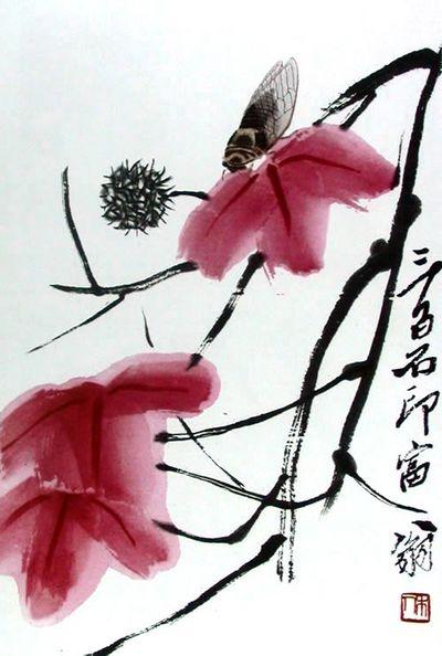 จักจั่น ผลงานของจิตรกรชื่อดัง ฉี ไป๋ฉือ (齊白石 ค.ศ. 1863-1957) (ภาพจาก comuseum.com)